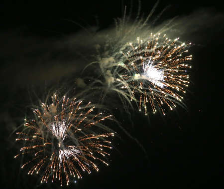 magnificent artificial fireworks at night with black sky
