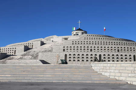 ample: Vicenza, VI, Italy - December 8, 2015: War Memorial of First War World called Ossario Monte Grappa with small church and many tombs of fallen soldiers