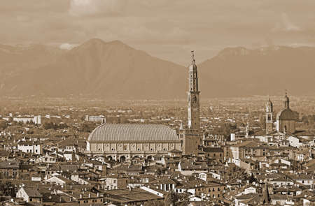wide panoramic with of VICENZA city in Italy with Sepia Effect and the famous monument called Basilica Palladiana
