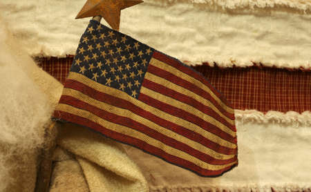 big American flag with vintage background and antique colors Stock Photo