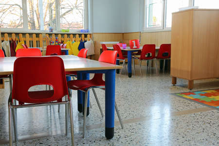 inside of a classroom in kindergarten with small chairs Stockfoto