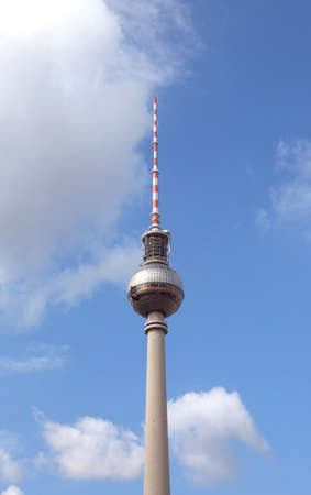 spherical big Panoramic restaurant in the very tall TV tower in East Berlin Germany