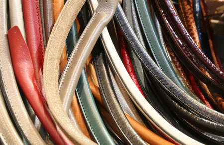 many leather handles for the creation of handmade leather handbags