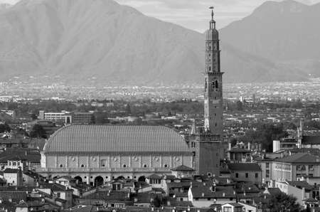 VICENZA city in Northen Italy and the famous monument called BASILICA PALLADIANA with black and white effect