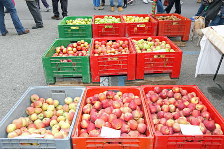 ample: big boxes of fruit with the ripe apples for sale