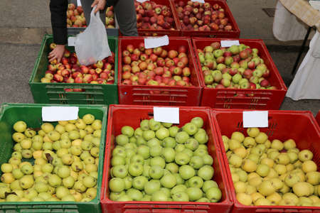 big boxes of fruit with the ripe apples for sale at market Banco de Imagens
