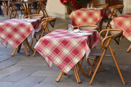alfresco table with chairs and tables in the european country 版權商用圖片