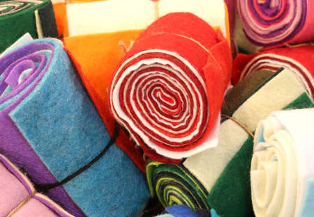 Rolled felt pieces for sale in the store of haberdashery and hobby Stock Photo