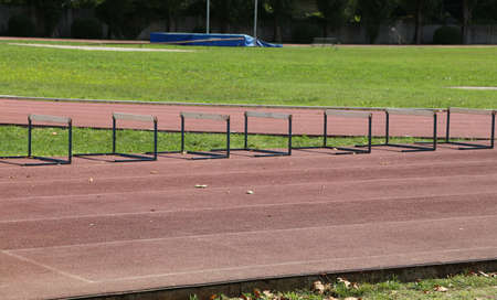 series of obstacles in the open-air athletic facility Stock Photo