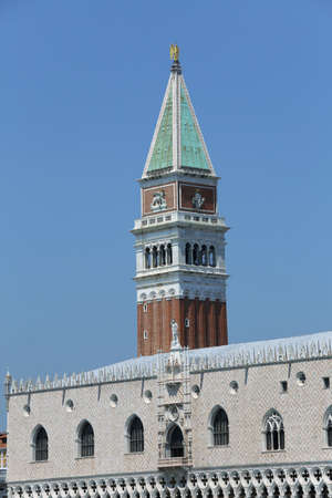 Venice Italy The high Bell Tower of Saint Mark and ancient palace of Doges called Palazzo Ducale Editorial