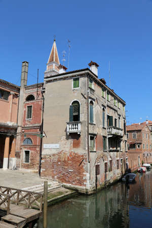 Venice Italy Houses near the navigable canal and the square called Campo de la Chiesa