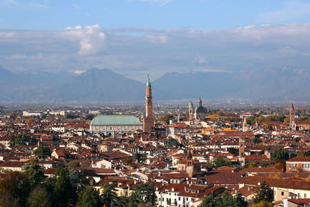 VICENZA city in Northen Italy and the monument called BASILICA PALLADIANA. Stock Photo