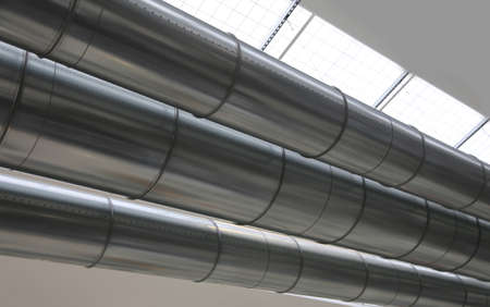 big pipes of a ait conditioning system in a factory