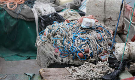 cluster of many fishing nets used by the fisherman at sea