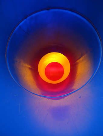 abstract background with a tunnel with red background and all around blue