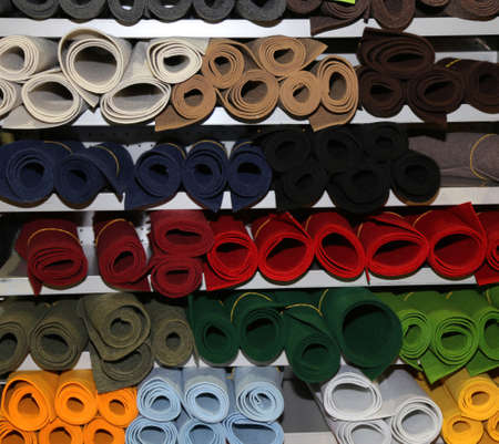 many types of cloth for sale in the haberdashery shop