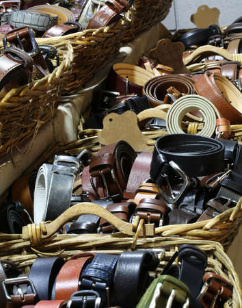 leather belts for sale in the clothing store