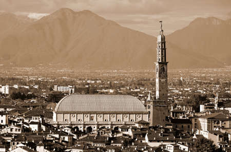 VICENZA city in Italy and the famous monument called BASILICA PALLADIANA. This name comes from the Architect Andrea Palladio with Sepia Effect Banco de Imagens