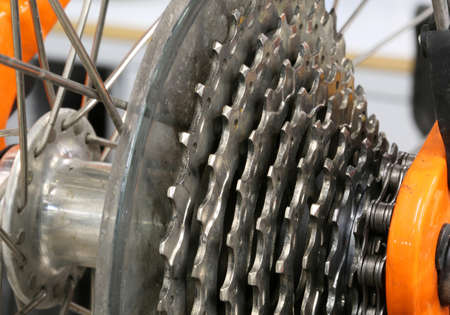 detail of a metal chain rings of a gear of a bike