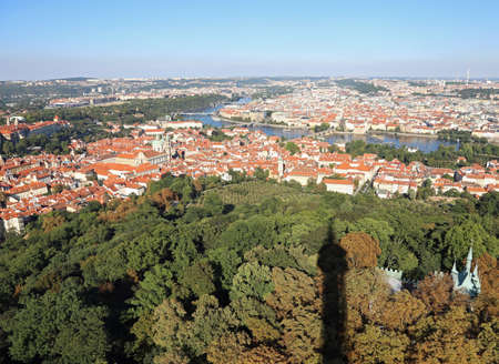 aerial view of Prague City the capital of Czech Republic in Europe and shadow of an high tower Reklamní fotografie