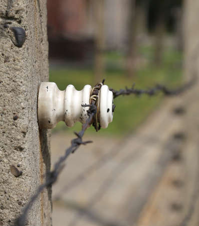 detail of the border with barbed wire and the ceramic isolator Stock Photo
