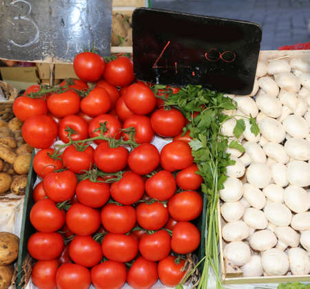 many red tomatoes and white champignon mushrooms for sale in the fruit and vegetable market Stock Photo