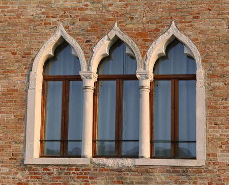 three windows of the old italian