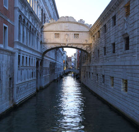ancient bridge of sighs with effect long exposure in VENICE Italy Фото со стока