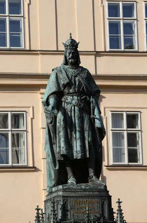 Prague, Czech Republic - August 23, 2016: Statue of King Charles near the old Bridge