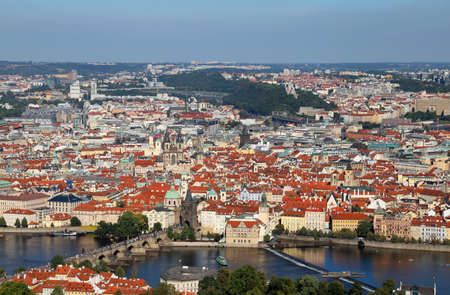 aerial view of Prague City in Czech Republic with charles bridge and Vltava river