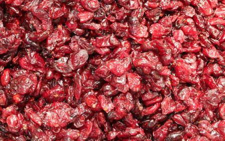 Red berries of cranberries for sale in the macrobiotic shop
