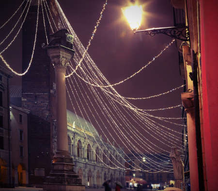 Main square of VICENZA City in Italy with street lamp in winter with vintage effect Stock Photo