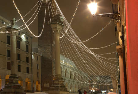 Main square of VICENZA City in Italy with street lamp in winter