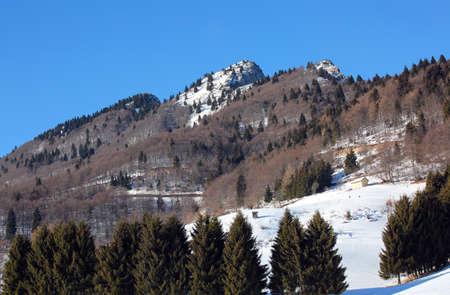 panorama mountains with white snow in winter and the top peak called SPITZ in  Northern Italy
