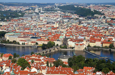 Panoramic view of Prague City in Czech Republic with charles bridge and Vltava river Stock Photo