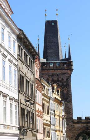 Prague, Czech Republic - August 25, 2016: Ancient Tower of  Charles Bridge