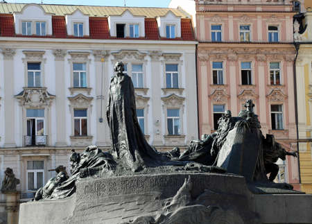 Prague, Czech Republic - August 23, 2016: Memorial of Jan Hus at Old Town Square built in 1915. Jan Hus was a czech linguist, religion writer, philosopher and theologian and church reformer