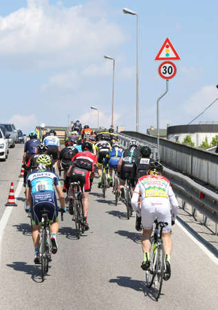 Vicenza, Italy - April 30, 2017: important cycling race on the road with many cyclists on bicycles Editorial