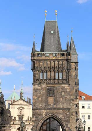 Prague, Czech Republic - August 23, 2016: Ancient Tower on Charles Bridge Editorial