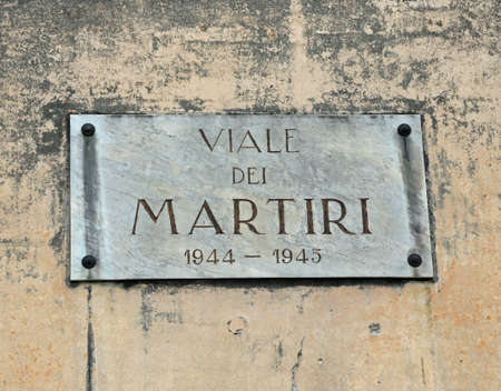 name of the street of the martyrs killed during the Second World War in Bsasano del Grappa a small town near Vicenza in Northern Italy Editorial
