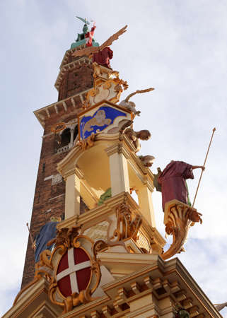 Vicenza, VI, Italy - September 19, 2015: Deatail of a Big Wooden Monument called LA RUA symbol of the City Editorial