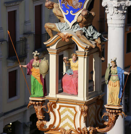 Vicenza, VI, Italy - September 12, 2015: detail of Wooden Monument called LA RUA symbol of the City with many statues Editorial