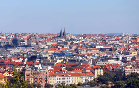 aerial view of Prague City the capital of Czech Republic in Europe with many houses and roofs Stock Photo