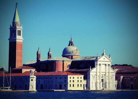 Venice Italy the  church of Saint George called San Giorgio Maggiore in Italian language with vintage effect