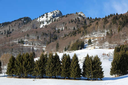 panorama mountains with white snow in winter and the peak called SPITZ in  Northern Italy