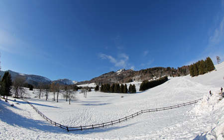 panorama mountains with wide fish eye lens and snow