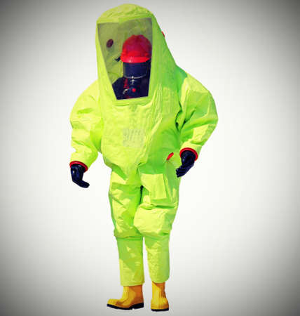 Firefighter with protective suit against chemical and bacteriological agents  with vintage style effect