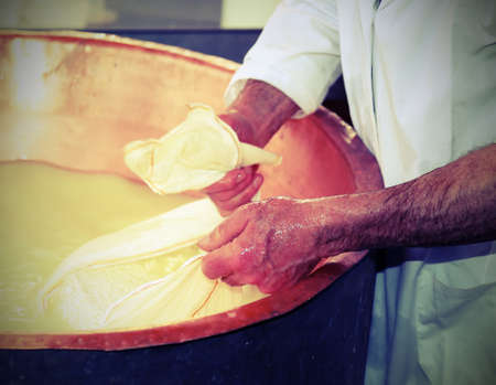 cheesemaker collects the cheese with the tarp from the large copper cauldron filled with fresh milk and whey with vintage effect Stock Photo