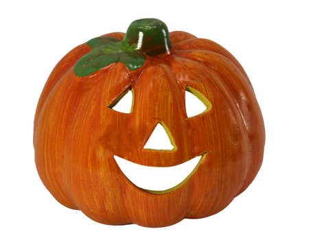 Symbol of HaLloWeEn is an scarry Orange pumpkin called Jack-o-lantern on white background Stock Photo