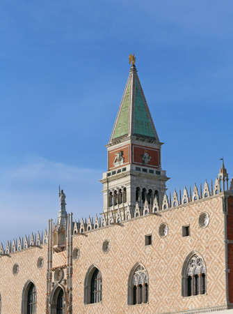 Venice, Italy Bell Tower of Saint Mark and Ducal Palace called Palazzo Ducale in Italian Language